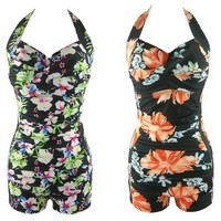 2017 New Sexy One Piece Swimsuit Women Plus Size M-3XL Bodysuit Push Up FLOWER Swimwear Bathing Suit QP0252