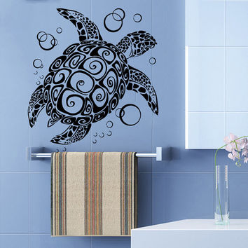 Sea Ocean Turtle Decal Marine Decor Turtle Wall Decal Nautical Vinyl Stickers Tortoise Bubbles Decals Spa Bathroom Decor Art Murals KI138