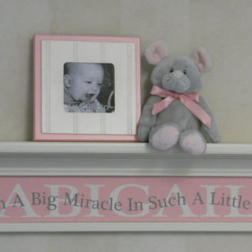 "Customized Baby Gift Pastel Pink Nursery 30"" Linen (Off White) Shelf with Name Sign - Cute Saying - Such A Big Miracle In Such A Little Girl"