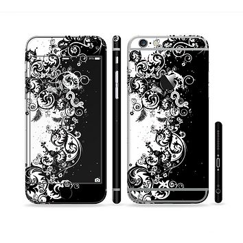 The Abstract Black & White Swirls Sectioned Skin Series for the Apple iPhone 6/6s