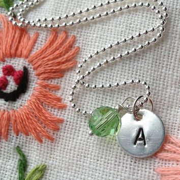Initial Necklace Letter Necklace ID Charm Personalized Custom Sterling Silver Charm Necklace with Swarovski Crystal Birthstone by RedHorses