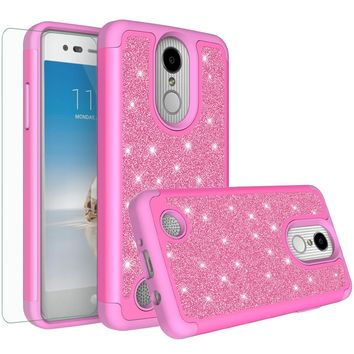 LG Aristo, LG Phoenix 3, LG Fortune, K4 2017, K8 2017 Case, Glitter Bling Heavy Duty Shock Proof Hybrid Case with [HD Screen Protector] Dual Layer Protective Phone Case Cover for LG Aristo  - Hot Pink