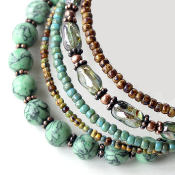 Beaded bracelet stack - turquoise stone copper & glass stacking bangles