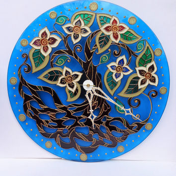 Wall glass clock Glass painting Art clock Tree of life art Mandala art Bohemian decor Tree mandala