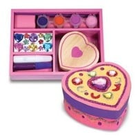 Includes A Heart Shaped Wooden Keepsake Box, Glitter And Craft Glue, Colorful Gems, 4 Pots Of Paint And A Brush - Melissa & Doug Wooden Heart Chest - DYO