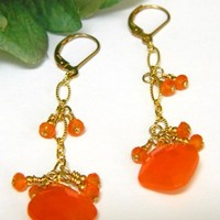 Orange Quartz Long Dangle Earrings on Gold Chain, Handmade