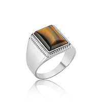 Rectangle tiger`s eye gemstone sterling silver ring