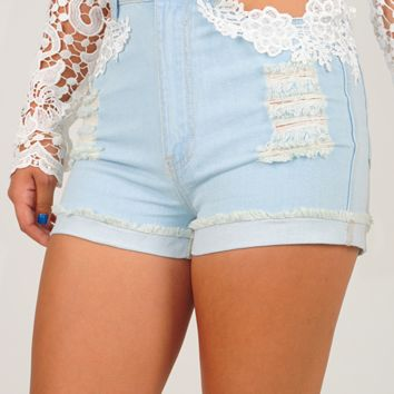 Lace Me Up Shorts: Light Denim