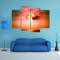 Full Blood Moon Multi Panel Canvas Wall Art