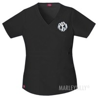 Monogrammed Dickies Wrap Scrub Top | Marley Lilly