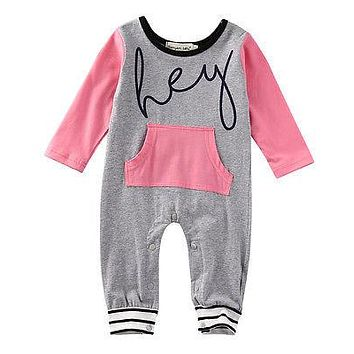 Newborn Baby Girl Clothing Striped Romper Long Sleeve Cotton Jumpsuit Outfits Pink Sunsuit Clothes Baby Girls