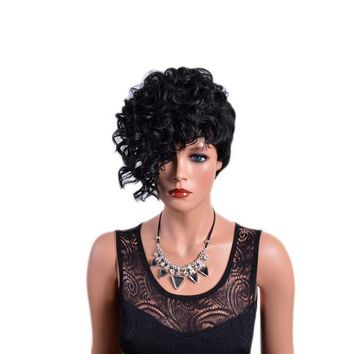Front Curly Back Straight with Bangs Synthetic Hair Wigs