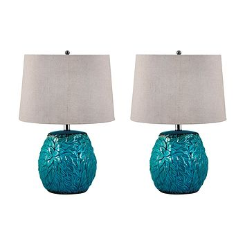 275/S2 Aqua Leaf Terra Cotta Table Lamp