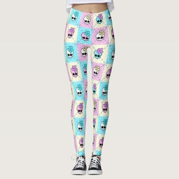 Cute Girlie Skull With Flower Leggings