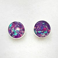 Purple holographic earrings / stud earrings / colorful jewelry / silver earrings / holographic jewelry / purple jewelry / sparkle earrings
