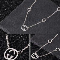 GUCCI 925 Silvery Classic Popular Women Chic GG Letter Pendant Necklace Accessories Jewelry