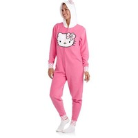 Women's Hello Kitty Micro Fleece One-Piece 3D Hooded Pajamas - Walmart.com