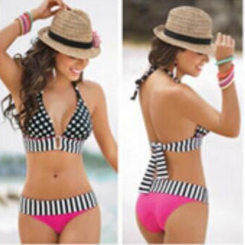 2016 NEW Stripe & Long line Women Swimwear Dot Printed Push-Up Padded Bikini Sets Beach Swimsuit Halter Bathingsuit
