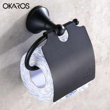 Okaros Simple Euro Toilet Paper Holder Oil Rubbed Bronze/Black Paper Roll Holder Tissue Holder Bathroom Product Accessories