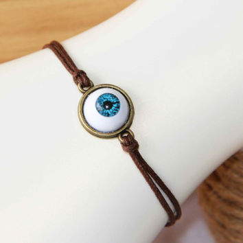 watch out keep ur eyes open bracelet anklet blue eyeball cotton wax cord summer trending simple fashion friendship graduation gifts