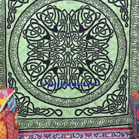 Green Mandala tapestry celtic tapestry wall hanging hippie boho gypsy dorm decor psychedelic wall art bohemian bedding coverlet picnic sheet