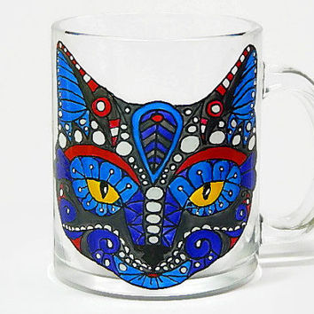 Coffee Mug, Cat Mug Hand Painted, Hand Painted Glasses, Funny Cat mug