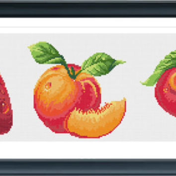 Cross Stitch Pattern, Cross Stitch, Counted Cross Stitch, Cross Stitch Chart, Xstitchpatterns, Cross Stitch Fruit SG003