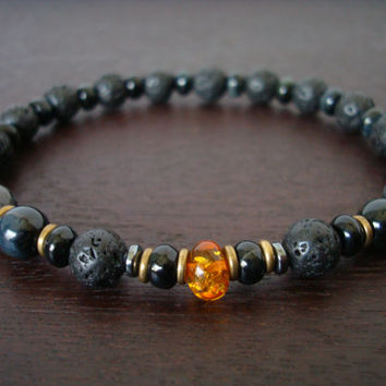 Men's Baltic Amber Power Mala Bracelet - Lava Rock, Black Moonstone, and Blue Tiger Eye Mala Bracelet - Yoga, Buddhist, Meditation, Jewelry
