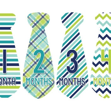 Baby Boy Monthly Necktie Milestone Birthday Tie Stickers Style #711