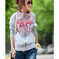 Light Grey Hoodie Women Korean Style New Style Hood Zipper Slim Long Sleeve Cotton Apparel M/L @GP0021lg $17.22 only in eFexcity.com.