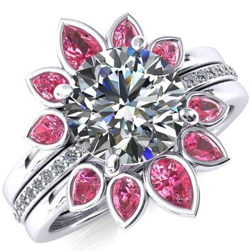 Flora Round Moissanite 1/2 Eternity Accent Diamond Ring
