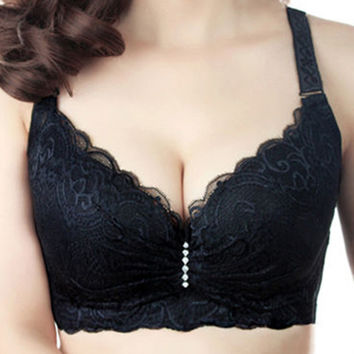Sexy Ladies Big Size 3/4 Cup Lace Push Up Bra Women Black Bralette Deep V Bras Underwear Large Cup C D Plus Size