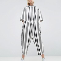 ASOS WHITE Ovoid Jumpsuit In Stripe at asos.com