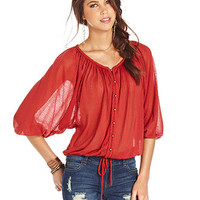 American Rag Juniors Top, Three-Quarter Sleeve Sheer Blouson - Juniors Tops - Macy's