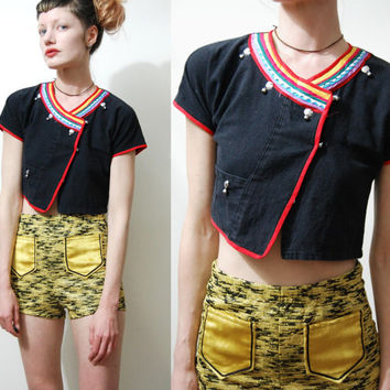 90s Vintage CROP TOP Bells Rainbow Trim COTTON Ethnic Blouse Bohemian Boho Indian Hippie xxs