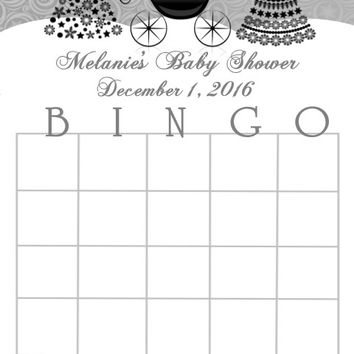 Silver and Black Christmas Baby Shower Bingo Cards