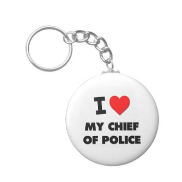 I love My Chief Of Police Basic Round Button Keychain