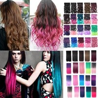 "20% OFF 18""24"" Colorful Fading Color Curly Wavy 3/4 Full Head Clip in Hair Extensions One Piece 5 Clips Multi color -in Clip in Hair Extensions from Health & Beauty on Aliexpress.com 
