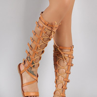 Qupid Strappy Buckled Lace Up Gladiator Flat Sandal