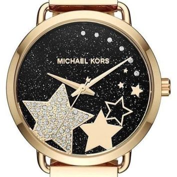 DCK4S2 Michael Kors Women's Portia Celestial Star Black Gold Watch MK3794 NWT $225