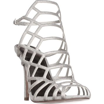 madden girl Directt Caged Ankle Strap Sandals, Silver, 7 US
