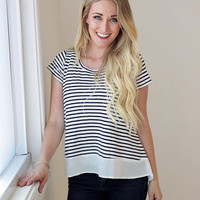 Navy Striped Top with Criss-Cross Back