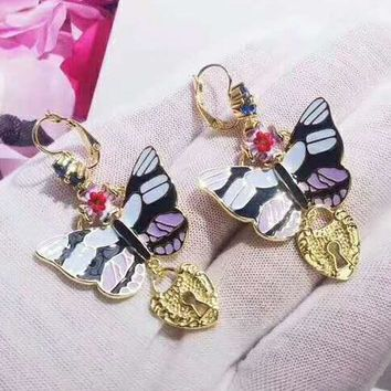 Dolce & Gabbana Fashion New Floral Butterfly Diamond Love Heart High Quality Long Earring