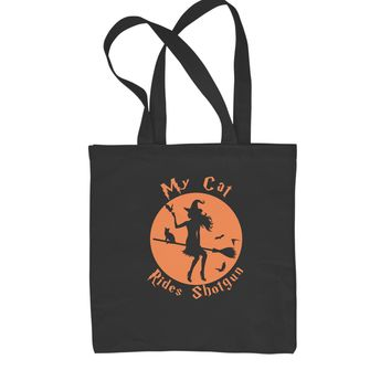 My Cat Rides Shotgun Witch on Broom  Shopping Tote Bag
