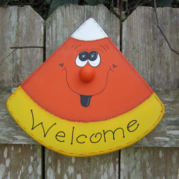 """Hand Painted Wooden White, Yellow and Orange Candy Corn Fall and Halloween """"Welcome"""" Sign"""