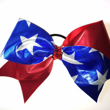 The Patriot - Tick Tock Red & Blue Mystique w/ White Stars Cheer Bow
