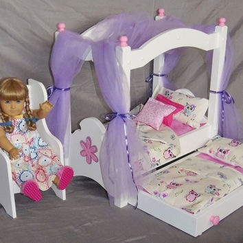 Doll Canopy Bed and Trundle Bed fits American Girl Doll and all 18 inch dolls with owl bedding, flower applique and Windsor chair included