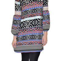 Tribal Print Crochet Sleeve Dress