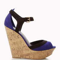 Printed Cork Colorblocked Wedges