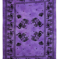 Purple Wall Hanging Indian Home Decor Tapestry Elephant Print Bedspread Decorative Twin Size Bed Cover TP824D